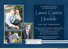 Blue Three Photo Graduation Commencement Invitation Design