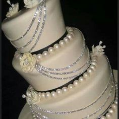 Pearl and Diamond Wedding Cake. Amazing Black And White Wedding Cakes Pic] ~ Awesome Pictures Bling Wedding Cakes, Bling Cakes, Fancy Cakes, Cake Wedding, Bling Party, Crazy Cakes, Pretty Cakes, Beautiful Cakes, Amazing Cakes