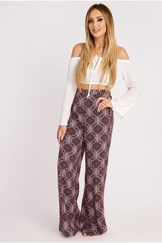 CHARLOTTE CROSBY BERRY TILE PRINT PALAZZO TROUSERS