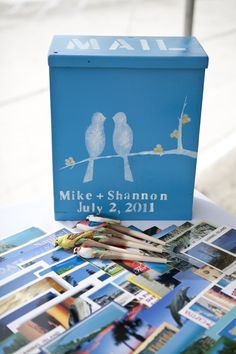 Lovebirds! This cute mailbox was used for wedding wishes at this destination summer wedding.