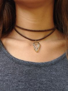 Chocolate Brown Leather Suede Double Wrap Choker Necklace with a Crystal Quartz Arrowhead Pendent