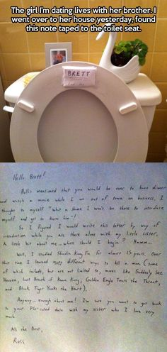 A letter from the girlfriend's brother...
