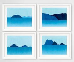 Set of 4 Beach Decor Art Prints, Blue Seascape Wall Art, Minimalist Posters, Abstract Ocean Landscape