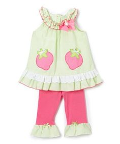 4.99 Loving this Green Tunic & Pink Leggings - Infant, Toddler & Girls on #zulily! #zulilyfinds