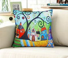 Abstract art tree pillow by art888888 on Etsy, $35.00