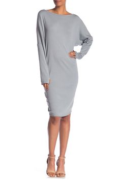 Boatneck Thumhole Dress by Go Couture on Boat Neck Dress, High Neck Dress, Nordstrom Dresses, Gray Dress, Nordstrom Rack, Gray Color, Dresses For Work, Slip On, Couture