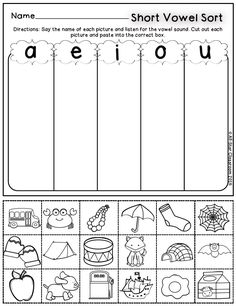 These short vowel picture sorts are a perfect practice or assessment opportunity for students to listen for short vowel sounds in words. With these printables, students will state the picture name and sort the picture according to the vowel sound. A full-color sort is included for teachers to model in a whole or small group setting.