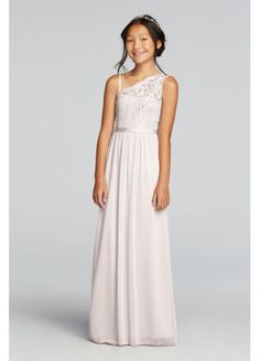 The younger girls in your party will blend seamlessly in this junior  bridesmaid dress with a long mesh skirt and one-shoulder lace bodice a12e941beba3