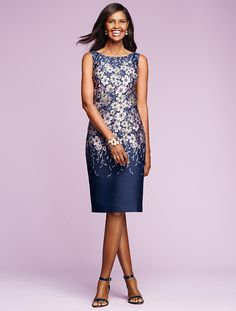 Mirrored-Floral Sheath - Talbots I like that this dress is modest and classy.