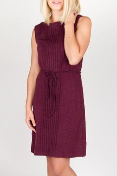 Sleeveless knit dress, in Purple and Blue. $95.