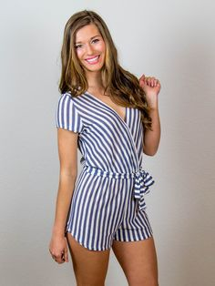 Striped Navy and White Romper