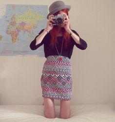 Shop this look on Kaleidoscope (skirt, sweater, hat)  http://kalei.do/WIxhUw5u2OHUWzxf