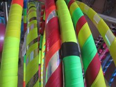 Adult Size Play, Dance and Fitness Hula Hoop's Reggae Love 3Colours Spiral (gaffer) -Sunburts/colourshifting/Glitter/Golden/ Yellow - Pink/Glitter/dragonscale/Fire/opal/red/orange - ColourBlock Fluor! Green, Yellow ,Red & Black Gaffer Tape.
