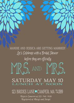Lesbian Wedding  Bridal Shower Printable by EventsYouCanPrint, $12.00