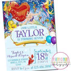 Little Mermaid Invitations   Ariel Birthday Invitation   Party Candee