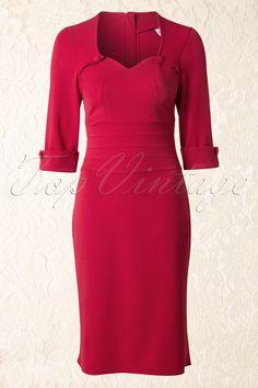 50s Freja A-Line Dress in Red
