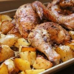 This one-pan supper is the Best Greek Chicken and Potatoes. It's loaded with garlicky flavor, oregano and loads of lemon.
