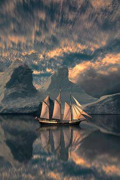 Fragata con témpanos de hielo.