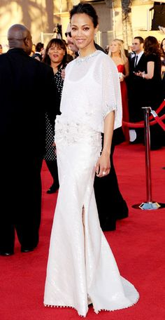 Zoe Saldana in a crystal-studded Givenchy haute couture gown and lots of Tiffany & Co. diamonds.
