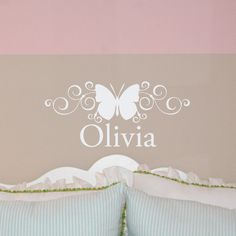 SCROLL BUTTERFLY NAME wall decal girl bedroom vinyl lettering (w00263). $14.99, via Etsy.