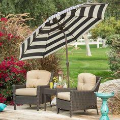 7.5-Ft Patio Umbrella, Dark Navy/White Stripe Canopy, Metal Pole