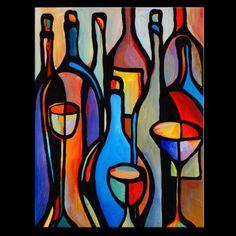 Daneshi-Original-Acrylic-painting-Abstract-Wine-Bottles