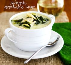 Chasing Some Blue Sky: Spinach Artichoke Soup  2 cups cooked shredded chicken, 1 can artichokes, 1 can evaporated milk, 1 bag spinach, 2/3 C parmesan and seasonings. Quick, easy, yummy