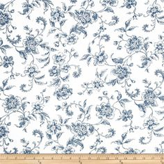 """108"""" Wide Whisper Print Floral Toile Blue from @fabricdotcom  Designed by Studio RK for Kaufman Fabrics, this extra wide cotton print fabric is perfect for quilt backing, bedding, window treatments, apparel and more. Colors include blue and white."""