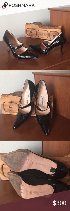 Selling this Manolo Blahnik Patent Leather Mary Jane Pumps on Poshmark! My username is: madison2323. #shopmycloset #poshmark #fashion #shopping #style #forsale #Manolo Blahnik #Shoes