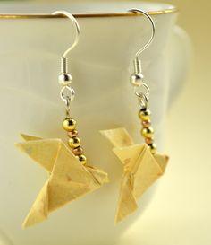 Yellow Origami Earrings Geometric Bird Jewelry Dove by JustFolds, $7.00