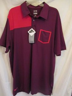 0820515 Adidas Golf NWT Pure motion Cool Max XL Red/Maroon Short Sleeve Polo #adidas #ShirtsTops