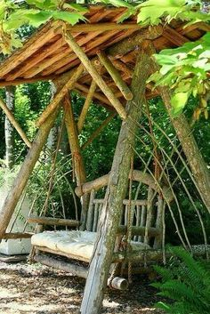Cozy Rustic Porch Swing Design Ideas - Page 2 of 35 Outdoor Bench Swing, Porch Swing, Chair Swing, Diy Swing, Wood Swing, Swing Seat, Dream Garden, Home And Garden, Backyard Swings