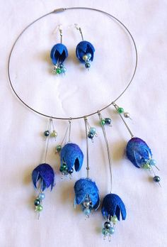 Romantic Bright Blue Silk Cocoon Necklace by Delacroux on Etsy, £23.95