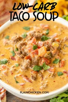Low-Carb Taco Soup - SO good! I wanted to lick the bowl! If you aren't doing low-carb, feel free to add corn and black beans. Ground beef, taco seasoning, Ranch dressing mix, diced tomatoes an Crock Pot Recipes, Slow Cooker Recipes, Cooking Recipes, Healthy Recipes, Beef Broth Soup Recipes, Low Carb Crockpot Recipes, Low Carb Hamburger Recipes, Low Carb Chili Recipe, Crock Pot Soup