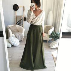 Olesa Olive Wrap Maxi Skirt
