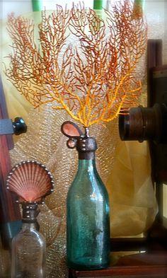 Solder Art | Sealife Bottle. Sea Fan on Vintage Aqua Glass Bottle with Chandelier Crystals.