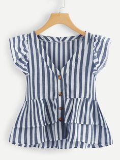 Shop V Neckline Single Breasted Striped Babydoll Top online. SheIn offers V Neckline Single Breasted Striped Babydoll Top & more to fit your fashionable needs. Girl Outfits, Cute Outfits, Frocks For Girls, Cute Blouses, Trendy Tops, Blouse Designs, Plus Size Fashion, Fashion Dresses, Casual