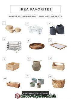 IKEA favorites: Montessori friendly containers, baskets and trays . - IKEA favorites: Montessori friendly containers, baskets and trays - Ikea Montessori, Montessori Toddler Rooms, Montessori Bedroom, Montessori Homeschool, Homeschooling, Montessori Activities, Ikea Toddler Room, Montessori Materials, Maria Montessori