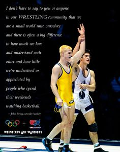 A Wrestlers Are Warriors poster in support of wrestling with a quote from John Irving as written in the February 12, 2013 issue of W.I.N. Magazine. Description from wrestlersarewarriors.com. I searched for this on bing.com/images