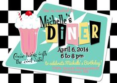 fifties party invitations | Custom Printable 50s Party Invitation, Birthday, Shower, Dinner ...