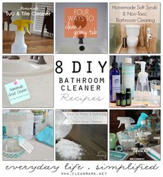 You'll love these 8 recipes for DIY Bathroom Cleaners - perfect for a sparkling bathroom!
