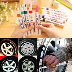 12 Kleuren Waterdichte Autoband Loopvlak Rubber Metalen Permanente Verf Marker Pen