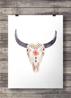 Watercolor Aztec tribal Bull Cow Skull -  Printable southwestern watercolor skull wall art  - Instant download digital print