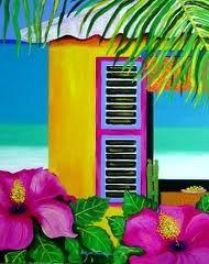 By Nena Sanchez artist from the island of Curacao. Visited her gallery in Curaçao. Hawaiian Art, Caribbean Art, Paint And Sip, Thinking Day, Tropical Art, Arte Pop, Beach Art, Bunt, Folk Art