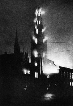 1941, London Blitz, St. Clement Danes Church London -- ablaze