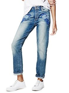 High-Rise Flower Model Jeans in Gazer Wash at Guess