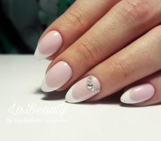Simple pink and white french manicure
