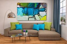 Mood in Blues. Geometrical Abstract Art, Wall Decor, Extra Large Abstract Colorful Contemporary Canvas Art Print up to 72 by Irena Orlov Abstract Bright Colorful Giclée Canvas Painting Art Print – 8 Sizes Available, Extra Large Abstract Painting Print up to 72, Abstract Contemporary Art,