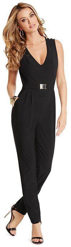 @roressclothes clothing ideas #women fashion black Moto Jumpsuit: