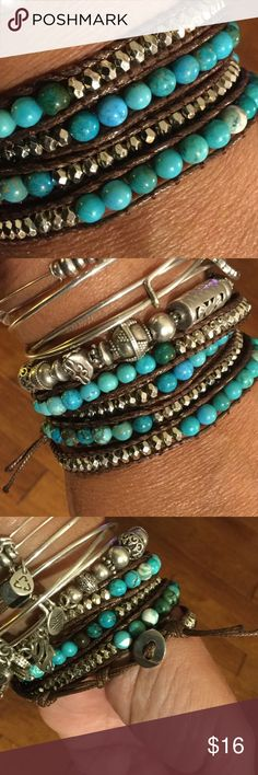 4X Wrap Bracelet, Turquoise & Silver tone Wear this wrap bracelet solo, or stacked with your favorite bracelets. Round turquoise colored stones and small silver toned beads. Smoke free/pet free home. Bundle with my other items for discount and to save on shipping. (Extra silver bracelets not included in this listing--for styling purposes only. Jewelry Bracelets